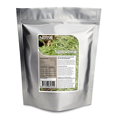 Nurafit Spirulina Pulver | 1000g / 1kg | natürliches Superfood mit 8 essentiellen Aminosäuren und vielen Proteinen | Natürliche Clean Detox Diät