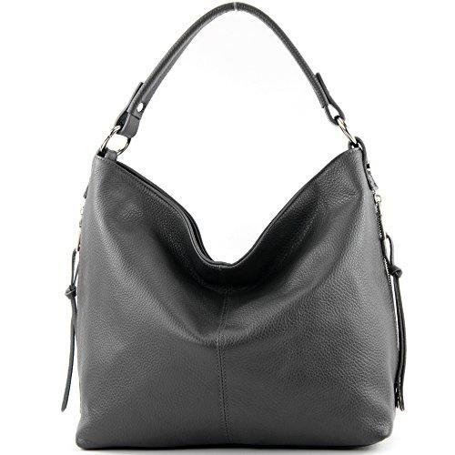 modamoda de - ital. Ledertasche Shopper Damentasche Bürotasche Schultertasche Leder T160 Anthrazit