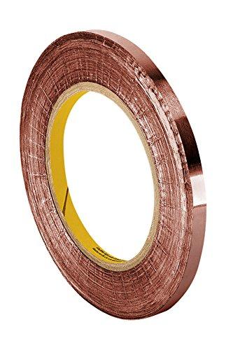 TapeCase 1125 - Cinta adhesiva de cobre con adhesivo acrílico (0,125 x 91,44 m, convertida de 3 m 1125, 91,44 m de longitud, 0,125 cm de ancho, rollo)