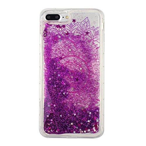 Case iPhone 7 Plus Treibsand Schale 5.5 Zoll, iPhone 7 Plus Flüssig Hülle, Moon mood® iPhone 7 Plus Durchsichtige Handyhülle 3D Creative Case Mode Bunten Transparente Kristallklaren Sparkly Silikon TP Stil 16