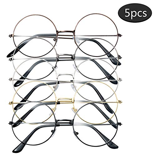 Vordas 5 Paar Retro Metall Frame Runde Brille, Unisex Transparente Gläser