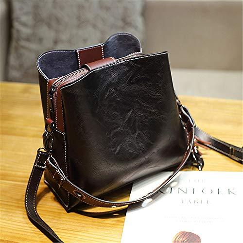 HGHG2019 Vintage Echtes Leder Eimer Handtaschen Frauen Umhängetasche Berühmte Marke Umhängetaschen Designer Weibliche Pochette Tote Schwarz 24 * 24 * 10 cm (Leder-motorrad-griff-abdeckungen)