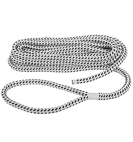 Compass Festmacherleine Ankerleine Festmacher Seil Tau mit Schlaufe aus Polyester 1530 kg Bruchlast in Weiß und Schwarz (10, Durchmesser 10 mm) -