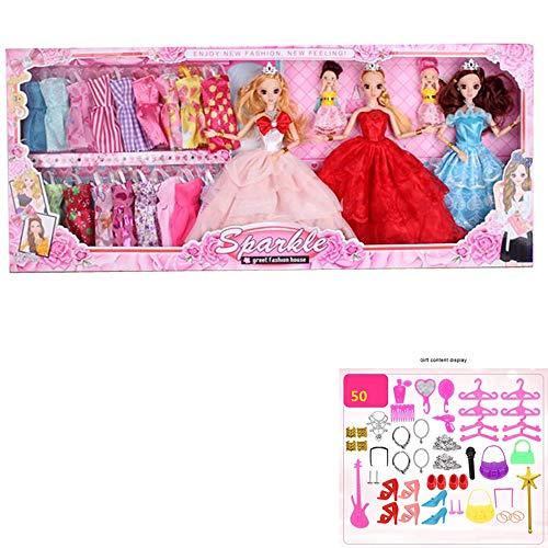 ZMH Niedliche Beauty-Puppe Dressup Spielzeug Mit Accessoires, 12 Gelenke Mobile Plastik Girl Doll Geschenkbox Ändern Kleidung Spiele Für Junge Mädchen Kinder Geschenke (Dress Up Doll Für Jungen)