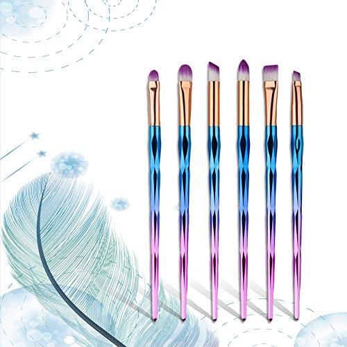 Oshide 6Pcs Set de Pinceaux de Maquillage pour les Yeux Ombre à Paupières Eyeshadows Eyeliner Brush Set Pinceaux pour le Visage