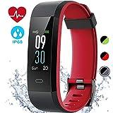 EDLUX Fitness Armband Smartwatch Pulsmesser Touchscreen 115 Plus Activitätstracker mit Herzfrequenz, Schlafmonitor, Wasserdicht IP68 Bluetooth 20 Modi Tracker für Android IOS Handy, Schwarz Rot
