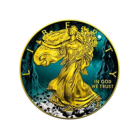 Walking Liberty Halloween Unzen $1 Gold vergoldet Silber Medaille – USA