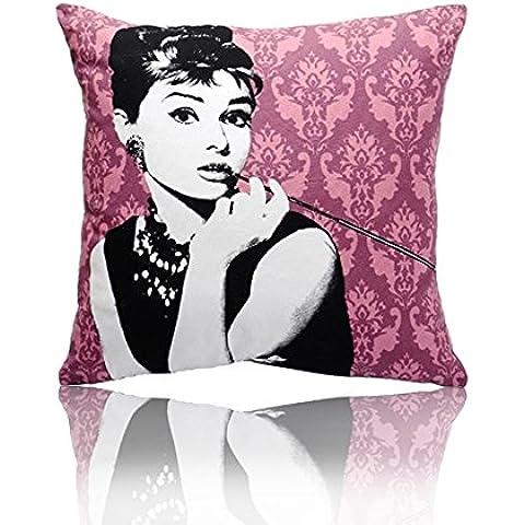 ST 60 x 60 cm MARY lona de algodón cojín decorativo cubierta funda de cojín, Audrey Hepburn verde y rosa (rosa)
