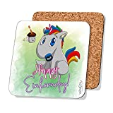 INWIEDU - Einhorn Untersetzer mit Spruch: Happy Einhornday - MDF mit Kork Rückseite - Größe 95 x 95 x 3 mm