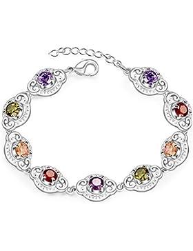 TPHui Frauen-Schmucksache- Silbernes Armband Farben-Kristallarmband 18K Silber überzogen mit kubischen Zircon-Kristallschmucksachen...