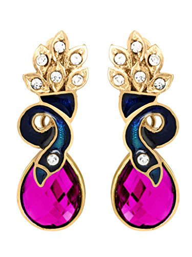 BIG Tree Contemporary Golden and Pink Crystal Peacock Drop Earrings for Women and Girls
