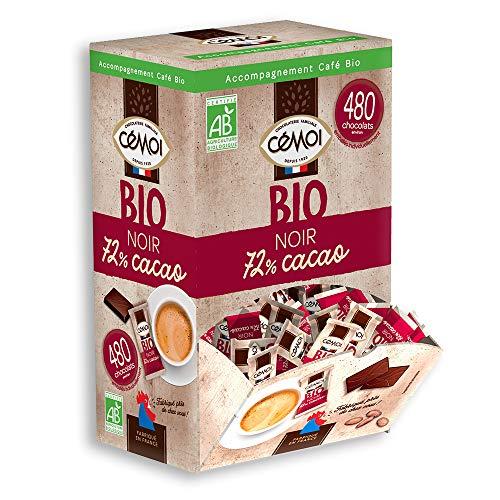 Cémoi Boîte Distributrice d'Environ 480 Napolitains de Chocolat Noir Bio 72% de Cacao 1,2 kg