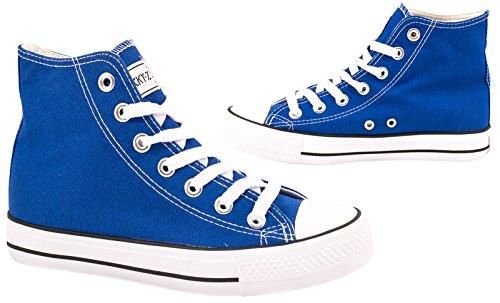 Elara Unisex Kult Sneaker | Bequeme Sportschuhe für Damen und Herren | High top Textil Schuhe 36-47 Blue