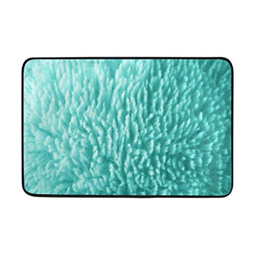 JSTEL Plüsch Blaugrün Stoff-Fußmatte waschbar Garten Büro Fußmatte, Küche ESS-Living Badezimmer Pet Eintrag Teppiche mit Rutschfeste Unterseite - Ess-plüsch