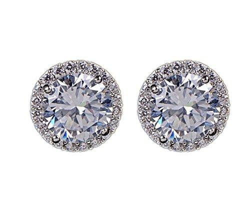 Peora Diamond Zircon Round Boucle White Silver Plated Stud Earrings Jewellery for Women