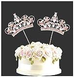 Strass Rosa Corona Festa Di Compleanno Topper Per Torte Numeri Scegliere Diamante Finto Gemme Decorazione