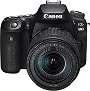 Canon 90D Digital SLR Camera with 18-135 IS USM Lens -4K- Black
