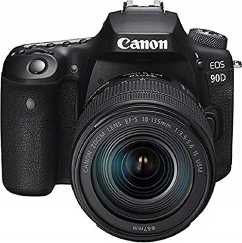 Canon EOS 90D Spiegelreflexkamera (32,5 MP, 7,7 cm (3 Zoll) Vari-Angle Touch LCD, APS-C Sensor, 4K, Full-HD, WLAN, Bluetooth) mit Objektiv EF-S 18-135mm F3.5-5.6 IS USM schwarz