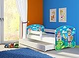 Clamaro 'Fantasia Weiß' 180 x 80 Kinderbett Set inkl. Matratze, Lattenrost und mit Bettkasten Schublade, mit verstellbarem Rausfallschutz und Kantenschutzleisten, Design: 32 Ritter