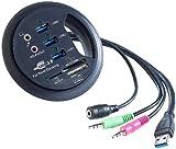 Xystec USB Tischdose: Tisch-Kabeldose 80 mm, USB-3.0-Hub, Card-Reader, Audioanschluss (Kabeldose Schreibtisch)