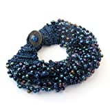 Ovalbuy Hand Crafted Fashion Dark Blue Jewelry Rice Beads Bracelet