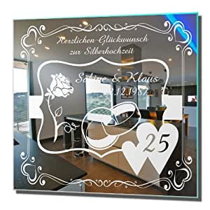 motivspiegel silberhochzeit 3 silberne hochzeit geschenk wandspiegel spiegel mit gravur wandbild. Black Bedroom Furniture Sets. Home Design Ideas