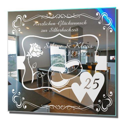 Motivspiegel Silberhochzeit 3 silberne Hochzeit Geschenk Wandspiegel Spiegel mit Gravur Wandbild (30x30cm)