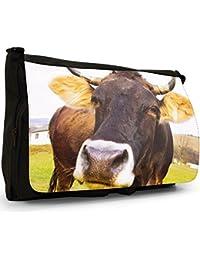 Preisvergleich für Kuh Große Messenger- / Laptop- / Schultasche Schultertasche aus schwarzem Canvas