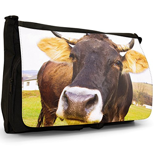 Nahaufnahme Einer braunen Kuh Große Messenger- / Laptop- / Schultasche Schultertasche aus schwarzem Canvas