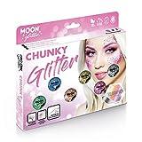 Holographischer grober Glitzer von Moon Glitter - 100% kosmetische Glitzer für Gesicht, Körper, Nägel, Haare und Lippen - 3g - Box-Set