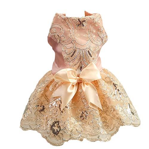 Delifur Hunde-Hochzeitskleid Tutu Rock Welpen Katze Blumenprinzessin Haustier Geburtstag Party Kostüm für Frühling Sommer, L, champagnerfarben