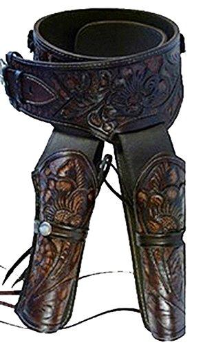 Modestone Western Leather Double Pistolengürtel Rig 44/45 Revolver 48 (Rig Belt Holster Western Gun)