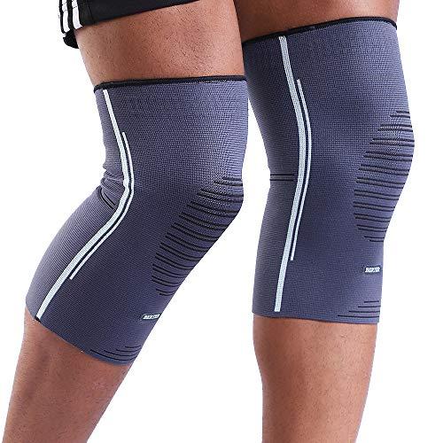 BERTER Unisex Kniebandage (2 Pack), Knieschoner Sportbandage guter Sitz Rutsch Perfekte Passform Weich und Soft Leistungsverbesserung Kniegelenkschutz (L)