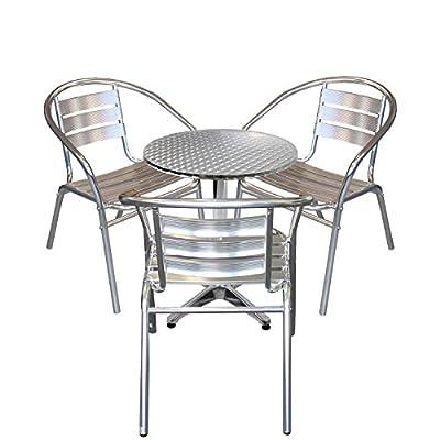4tlg Balkonmöbel Terrassenmöbel Bistro Set Aluminium Bistrostuhl Stapelstuhl Alu Bistrotisch Ø60cm Tischplatte Schleifoptik Sitzgruppe Sitzgarnitur