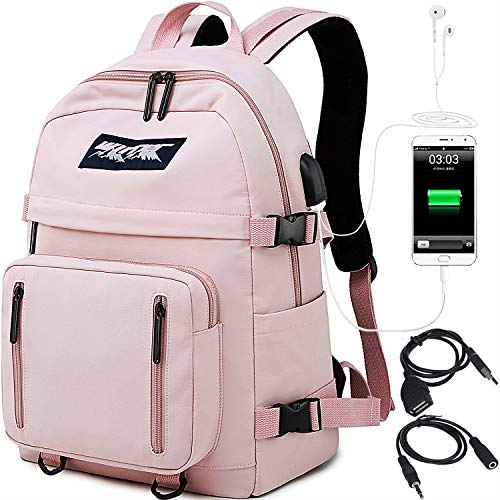 HASAGEI Mochilas Escolares Juveniles para 15.6'' Portátil Mochilas Unisex de Carga USB Backpack Resistente...