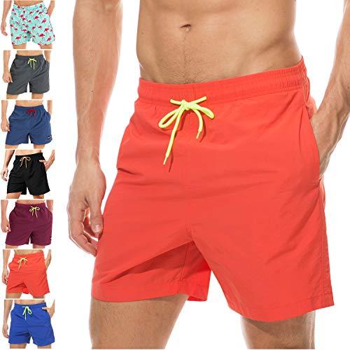 coskefy Badeshorts für männer Jungen Badehose Schwimmhose Schnelltrocknend Kurz Vielfarbig Beachshorts Boardshorts Strand Shorts Sporthose mit Mesh-Futter Tunnelzug (Orange,M(EU)-MarkeGröße XL)