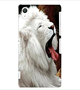 ColourCraft White Lion Design Back Case Cover for SONY XPERIA Z2