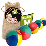 Mister M Juggling Balls ✓ CE Tested ✓ The Ultimate Juggling Set with an Online Video in a Burlap Bag