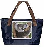 Shopper/Schultertasche / Einkaufstasche/Tragetasche / Umhängetasche aus Nylon in Navyblau - Größe 43x33cm - Motiv: Koala Koalabär in einer Astgabel - 01