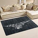yibaihe leicht bedruckt Bereich Teppich Teppich Fußmatte Deko Schädel mit Vintage Motorrad wasserabweisend leicht zu reinigen für Wohnzimmer Schlafzimmer 153 x 100 cm