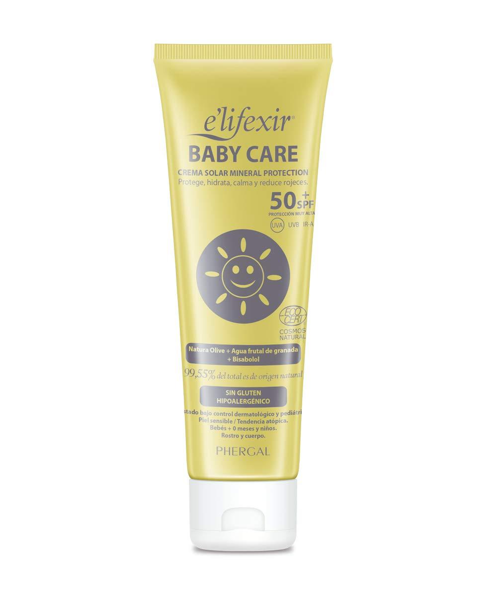 Elifexir Baby Care – Crema Solar  Niño y Bebé | Hidratante, Nutritiva, Resistente Agua | Protector Solar UVA/UVB/IR-A | 100% Filtros Minerales | Sin Parabenes | Hipoalergénica | Piel Sensible -100ml
