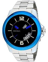 Svviss Bells™ Original Black Dial Blue Day And Date Wrist Watch