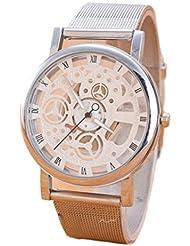 vovotrade Tiempo de ocio simil acero neutral simple cinta analógica reloj Dial reloj Plata