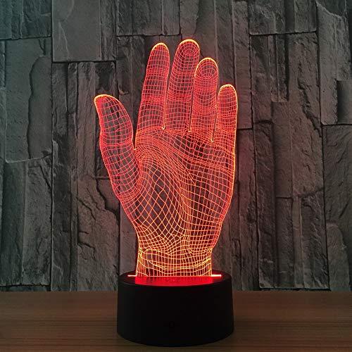 Palm Hand 3D LED Nachtlicht Acryl Licht Touch Schalter Neuheit Beleuchtung USB Lampe Tischlampe als Halloween Party Büro Dekoration Geschenk
