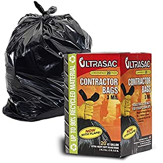 Aluf Plastics 792697 Ultrasac Heavy Duty Professional Quality Contractor Trash Bag, 42 Gallon Capacity, 2 ft.9in x 3 ft.9.5 inch, Black (Case of 20)