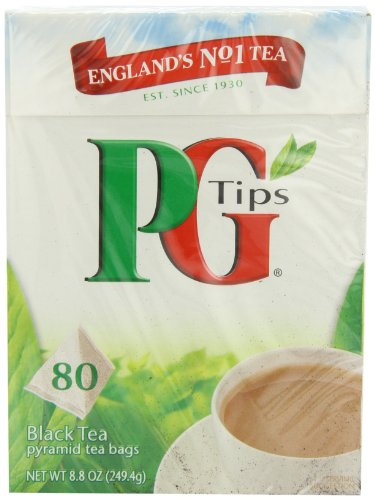 PG Tips Black, sachets de thé en forme de pyramides, 80Count Lot de 4 boîtes, jardin, pelouse, de l'entretien
