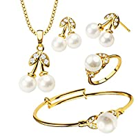 Luxury Pearl Crystal Necklace/Earrings/Bangle/Ring Trendy 18K Gold Plated Jewelry Set Gift for Only Girl Children Wear S20171