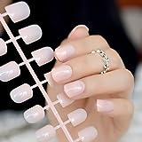 EchiQ Fashion Aquoval - Clavos de uñas artificiales de color rosa con diseño de nudo corto para uñas postizas,.