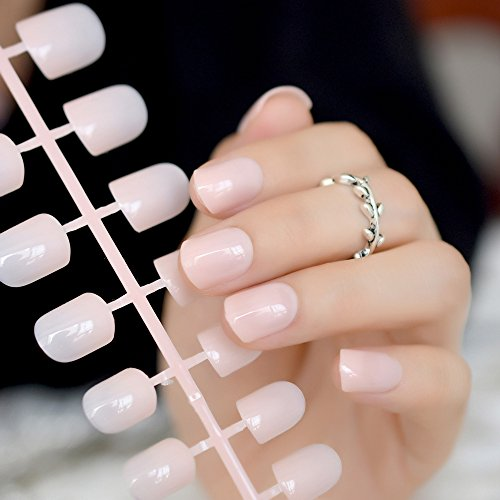 echiq Fashion aquoval kurz Nude Pink Nail Tipps Künstliche Nägel Candy Light Pink Künstliche French Fake Nail Salon verziert Full-Cover