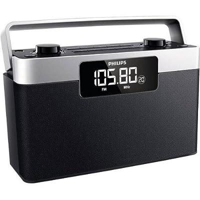 Philips AE2430 Radio FM Portable avec Prise Casque, Grand écran LCD, Horloge Intégrée, Batterie ou Piles (4xLR14) par Philips